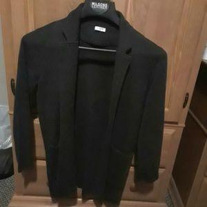 J. Crew Charcoal Gray Knit Long Blazer Cardigan